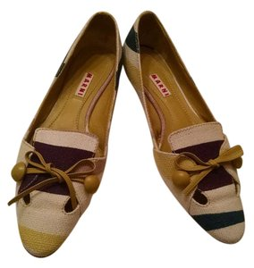 Marni Ivory, Purple, Navy and Lime Green Flats