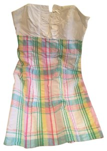 Lilly Pulitzer short dress Yellow green pink white blue Strapless Madras on Tradesy