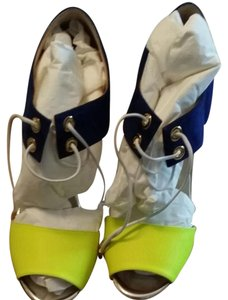 Christian Louboutin Bicolor Blue and Fluorescent yellow Sandals