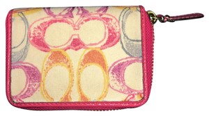 Coach Monogrammed Pink multicolored coach wallet