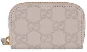 Gucci Gucci Mystic White Leather Guccissima Mini Zip Coin Pocket