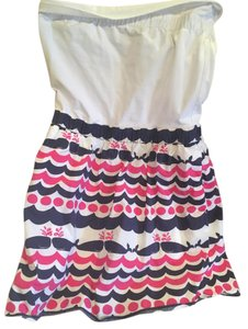 Lilly Pulitzer short dress White pink blue Whale Strapless on Tradesy