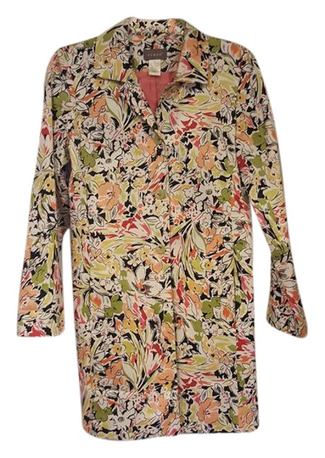 Item - White Black Green Pink Red Yellow Multi-color Long Jacket Size 4 (S)
