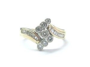 Other Fine Round & Baguette Diamond Criss Cross Yellow Gold Ring .50Ct