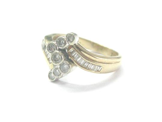 Other Fine Round & Baguette Diamond Criss Cross Yellow Gold Ring .50Ct Image 2