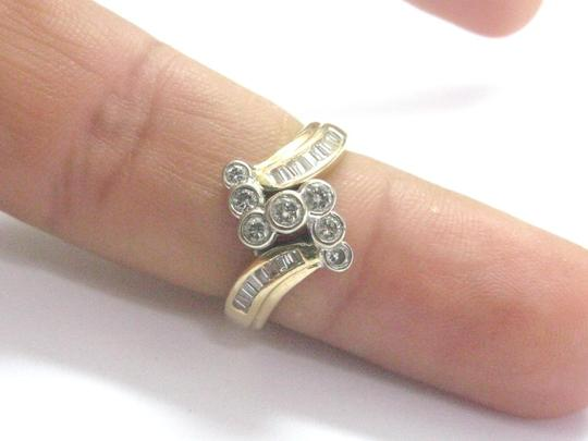 Other Fine Round & Baguette Diamond Criss Cross Yellow Gold Ring .50Ct Image 4