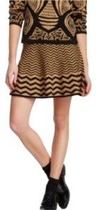 Romeo & Juliet Couture Chevron Flare A Line Skirt camel/black