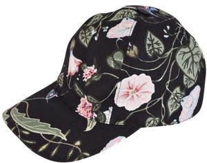 Gucci NEW Gucci Women's Black Flora Knight Floral Canvas Baseball Hat S