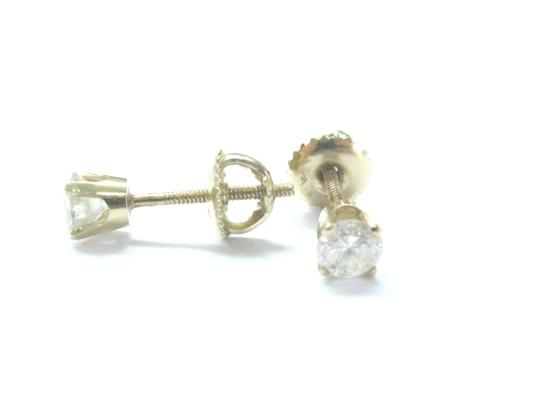 Other Fine Round Cut Diamond Stud Earrings .56Ct SCREW BACK Yellow Gold Image 1