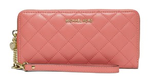 MICHAEL Michael Kors Michael Kors Alex Peach Quilted Lamb Leather Tech Continental Wallet