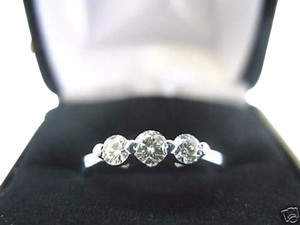 Other Fine Three Stone Diamond Solid White Gold Band 14KT 0.45Ct