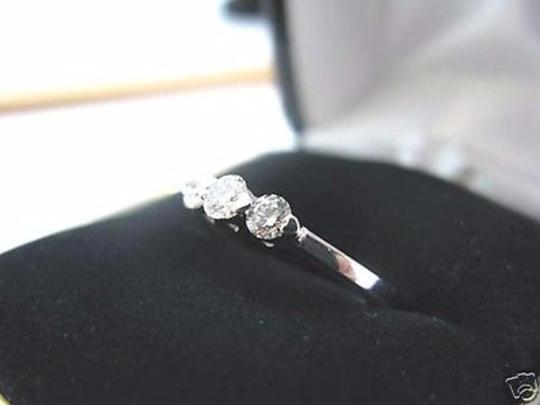 Other Fine Three Stone Diamond Solid White Gold Band 14KT 0.45Ct Image 1