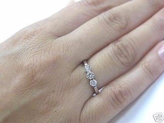 Other Fine Three Stone Diamond Solid White Gold Band 14KT 0.45Ct Image 3
