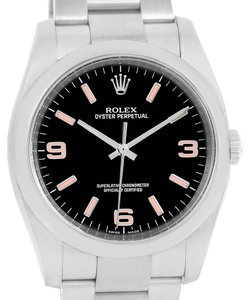 Rolex Rolex No Date Mens Black Dial Pink Hour Markers Steel Watch 116000