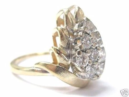 Other Fine Pear Shape Cluster Diamond Ring YG 14KT 0.82CT Image 1