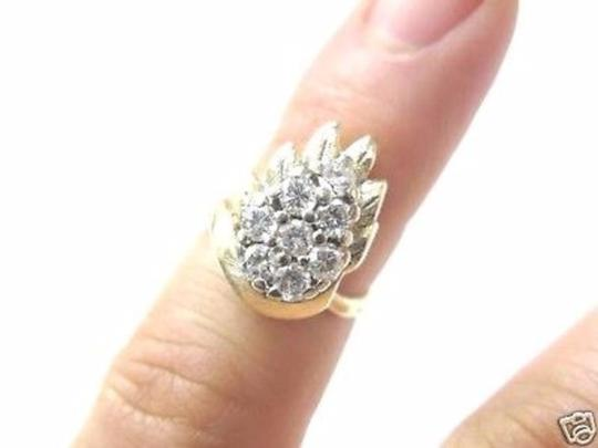 Other Fine Pear Shape Cluster Diamond Ring YG 14KT 0.82CT Image 4
