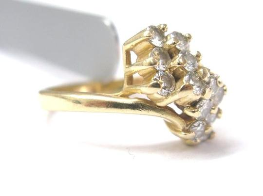 Other Fine Cluster Diamond Waterfall Jewelry Ring 14KT 0.70CT Image 2