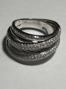 14k Wg Diamond Overlap Wrap Dome Cocktail/engagement Ring Size 7.25