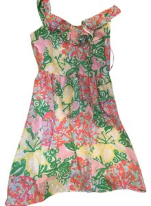 Lilly Pulitzer short dress Pink and green and yelllow floral Preppy Cotton on Tradesy