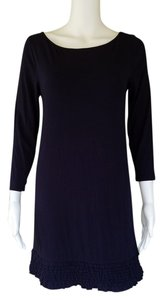 J.Crew short dress Navy Blue Mini 3/4 Sleeves Ruffles on Tradesy