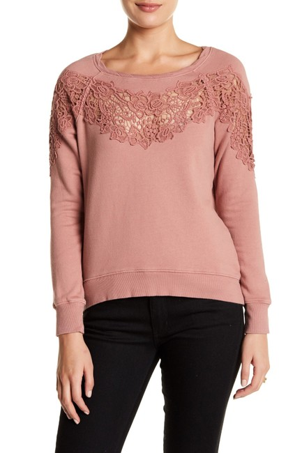 Preload https://img-static.tradesy.com/item/21154165/pam-and-gela-earth-distressed-lace-embroidered-sweatshirthoodie-size-6-s-0-3-650-650.jpg