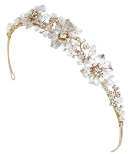 BHLDN Crystal Silver Gold Twigs Honey Triple Blossom Tiara