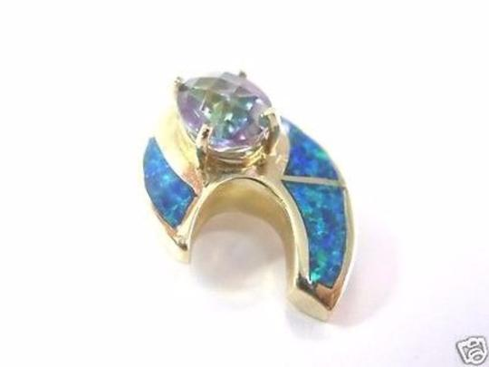 Other Fine Opal Inlay Coated Topaz Yellow Gold Pendant Image 1