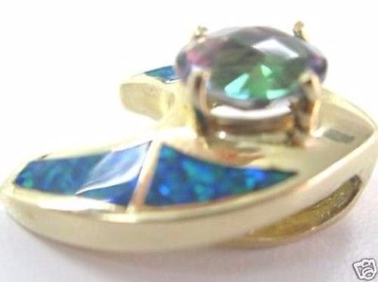 Other Fine Opal Inlay Coated Topaz Yellow Gold Pendant Image 2