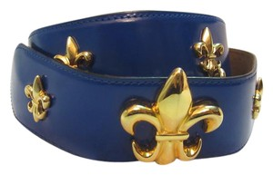 Moschino Blue Leather Belt with Gold Fleur-de-lis Italy