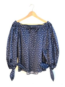 Saint Laurent Yves Vintage Peasant Top blue