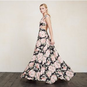 Reformation Black Sera De Marie Black Pink Floral Print Cutout Back Maxi Dress