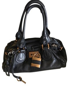 Chloé Satchel in Black with Gold tone lock and key.