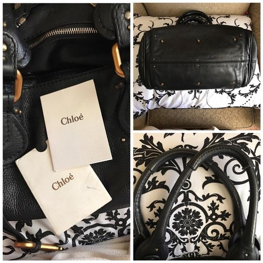 Chloé Satchel in Black with Gold tone lock and key. Image 2