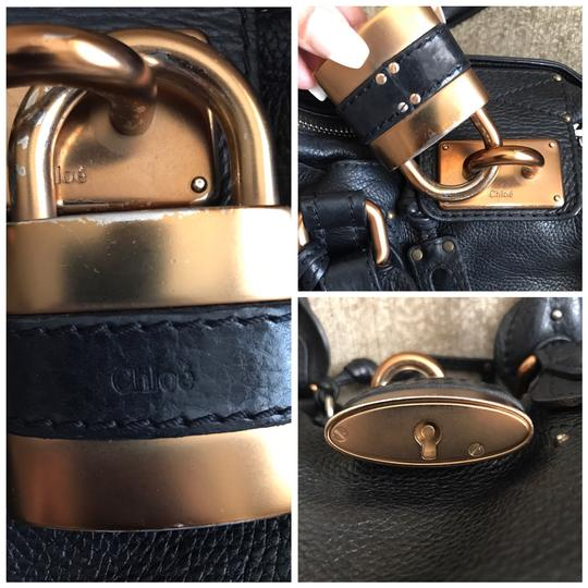 Chloé Satchel in Black with Gold tone lock and key. Image 4