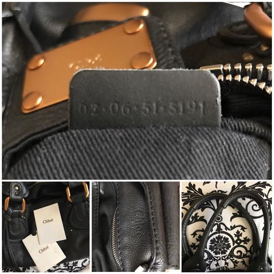 Chloé Satchel in Black with Gold tone lock and key. Image 5