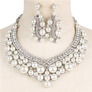 Pearl And Crystal Bridal Necklace And Earring Set