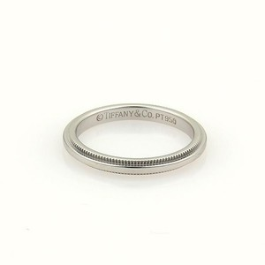 Tiffany & Co. Platinum Double Milgrain 2mm Wide Wedding Band Ring Size 6