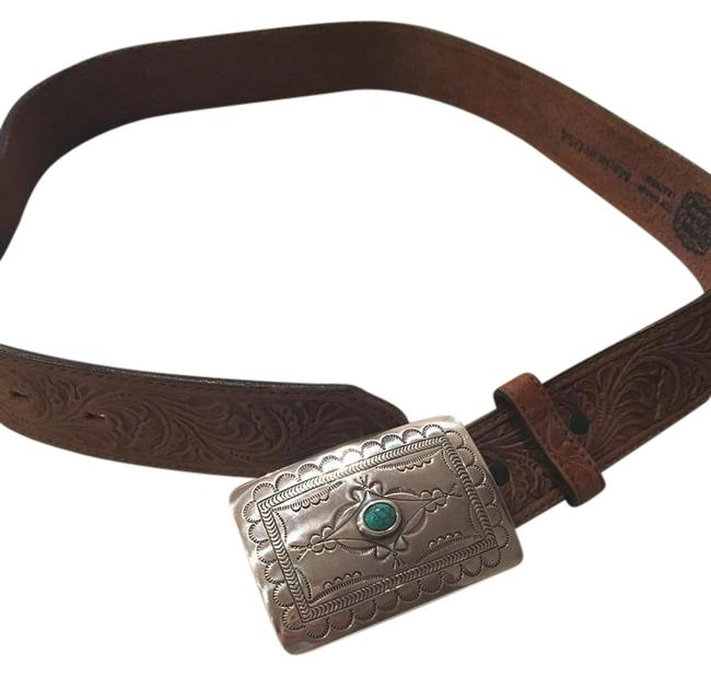 Tony Lama Brown Leather and Turquoise Belt Tony Lama Brown Leather and Turquoise Belt Image 1