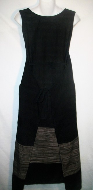 Black and Gray Maxi Dress by Other Sleeveless Linen Vintage Image 2