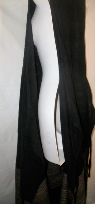 Black and Gray Maxi Dress by Other Sleeveless Linen Vintage Image 4