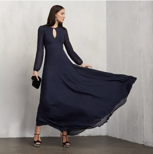 Reformation Blue Amalia Sapphire Blue Bust Cutout Long Sleeve Maxi Dress