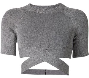 T by Alexander Wang Crop Crop Night Out Sexy Top Grey