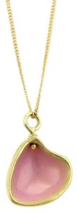 Tiffany & Co. Ralph Lauren Pink Enamel Shell Pendant Necklace in 18k Yellow Gold