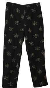 Ann Taylor Embroidered Straight Pants Black Beige