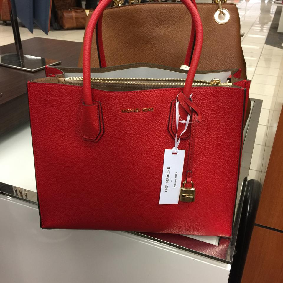 ff3cd17faeca Michael Kors Studio Mercer Large Bright Red Leather Tote - Tradesy