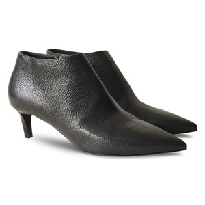 Jimmy Choo Leather Pebbled Pointed Toe Black Boots