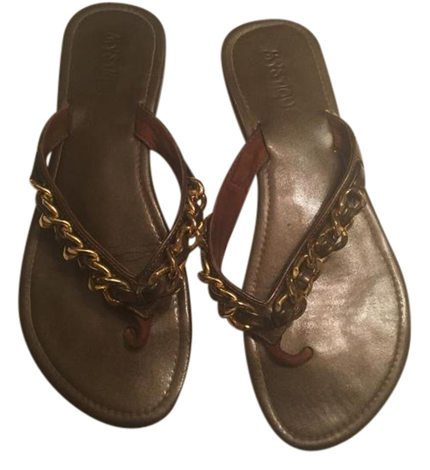 c9a33abe97dbae Mystique Boutique Brown and Gold Sandals Size US 8 Regular (M