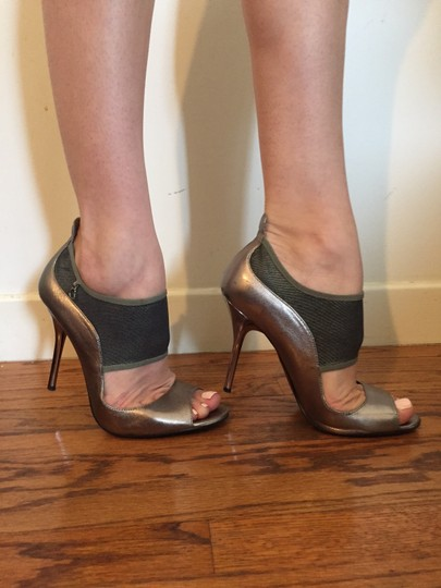 Guess Mesh Mary Jane Strappy Metallic Pewter Pumps Image 1