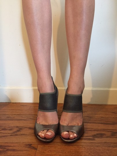 Guess Mesh Mary Jane Strappy Metallic Pewter Pumps Image 2