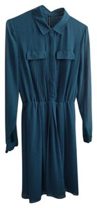 W118 by Walter Baker Pleated Pockets Button Down Polyester Flowy Dress